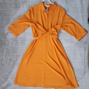 Cupshe Mustard Yellow Faux Wrap Dress Size XL